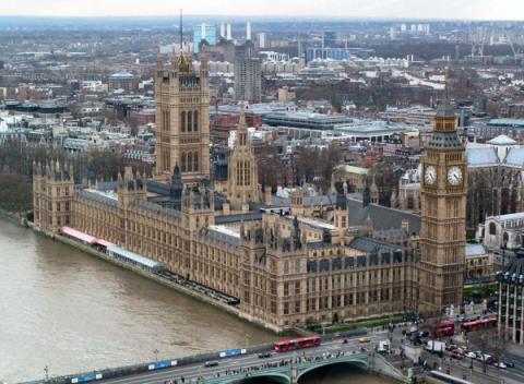 Westminster Palace vanaf de London Eye