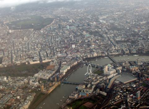 London Eye vanuit de lucht